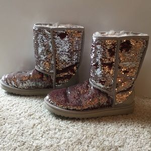 Red/Green/Silver Size 7 Uggs
